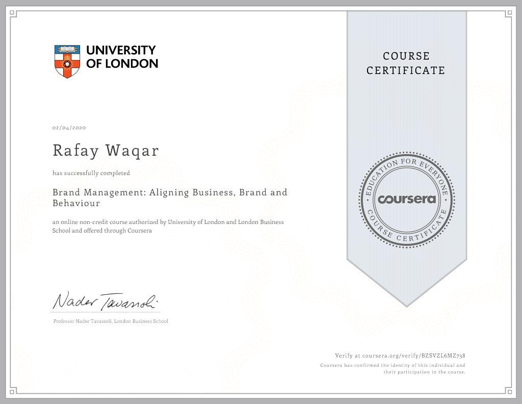 brand management certification university of london