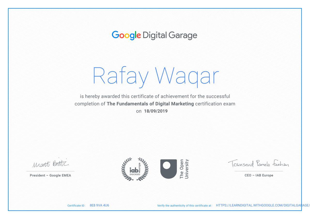 google digital garage certification