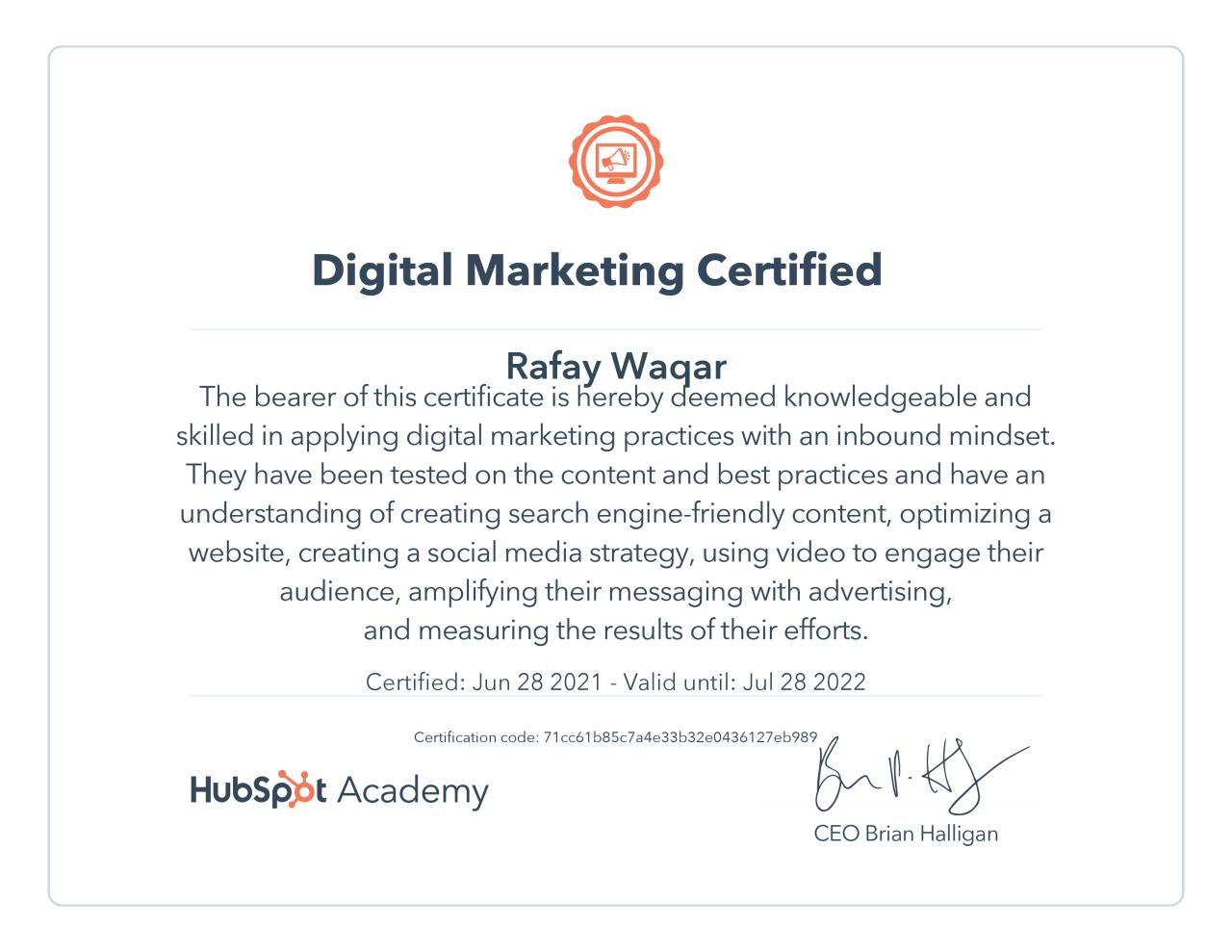 hubspot digital marketing certification