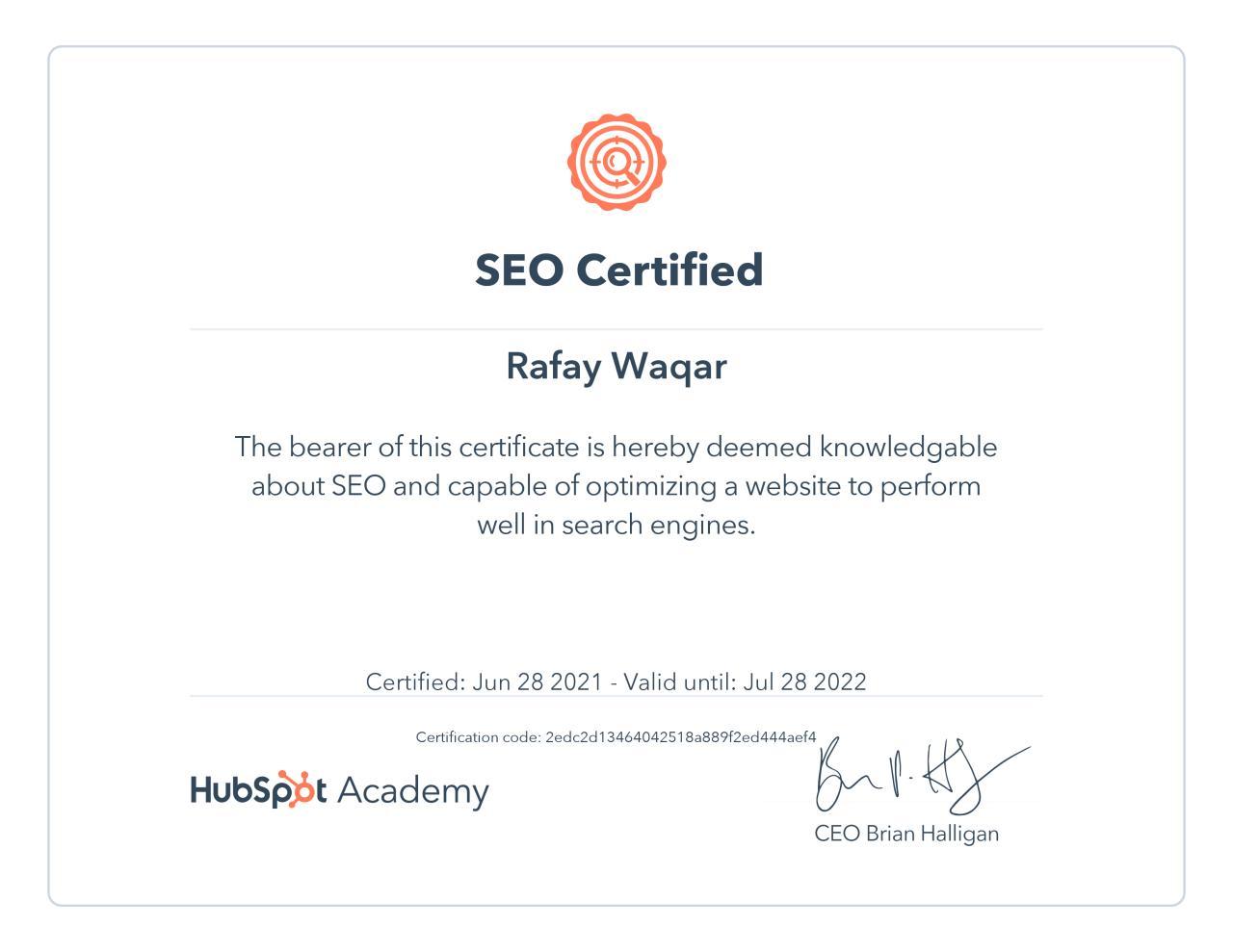 hunbspot SEO certification