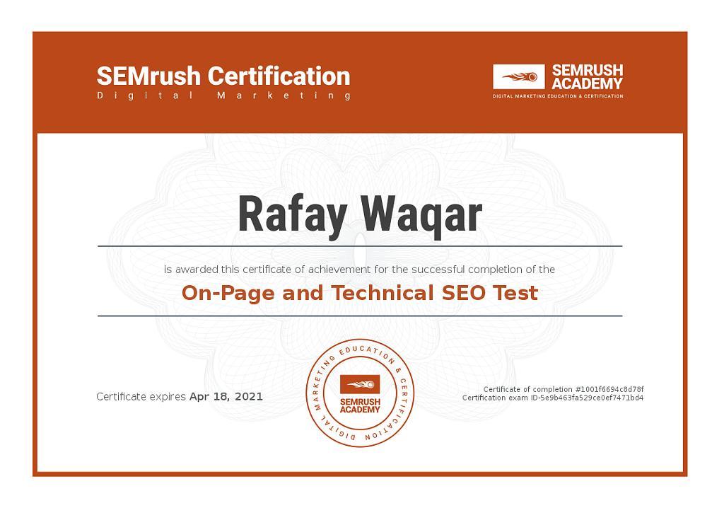 semrush technical seo certification
