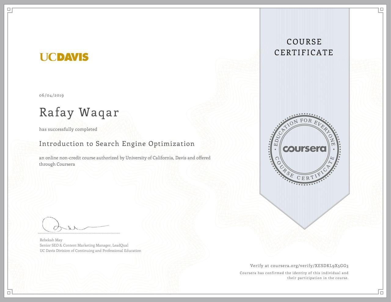 seo certification ucdavis university